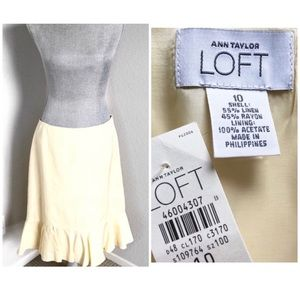 Loft Yellow Linen Skirt 10
